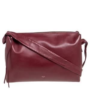 Celine Maroon Leather Messenger Bag