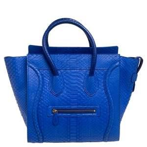 Céline Blue Python Mini Luggage Tote