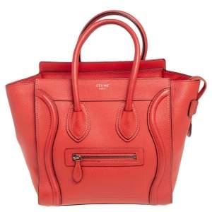 Celine Orange Leather Micro Luggage Tote