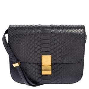 Celine Navy Blue Python and Leather Medium Classic Box Shoulder Bag