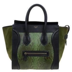 حقيبة يد سيلين لاغدغ صغيرة سويدي وثعبان سوداء/ خضراء