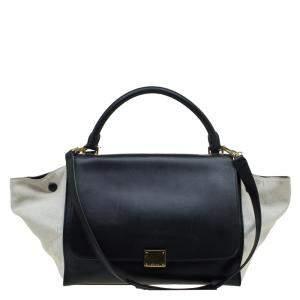 Celine Black/Beige Leather and Canvas Medium Trapeze Top Handle Bag