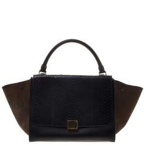 حقيبة يد سيلين ترابيز متوسطة سويدي وجلد/ جلد ثعبان سوداء/بنية