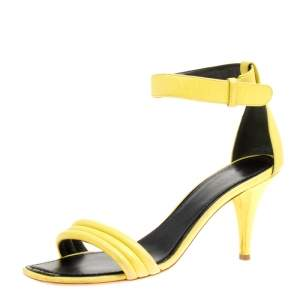 Celiine Yellow Leather Ankle Strap Sandals Size 37