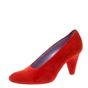 Celine Coral Red Suede Pumps Size 37