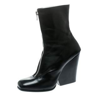 Celine Black Leather Square Toe Calf Length Boots Size 40.5
