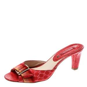 Celine Red Croc Embossed Leather And Fabric Slide Sandals Size 36