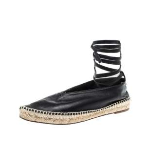 Celine Black Leather Pointed Toe Ankle Wrap Espadrilles Flats Size 37
