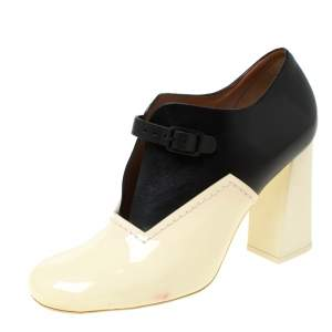 Celine Cream/Black Patent Leather V Neck Buckle Strap Booties Size 39