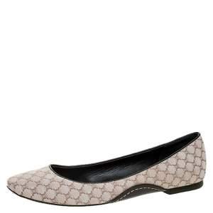 Celine Cream Jacquard Monogram Canvas Ballet Flats Size 39