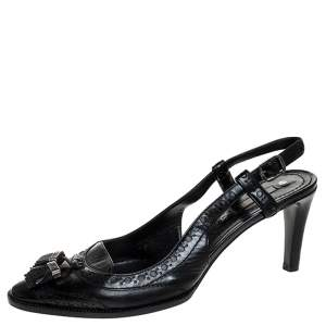 Celine Black Brogue Leather Tassel Slingback Sandals Size 40
