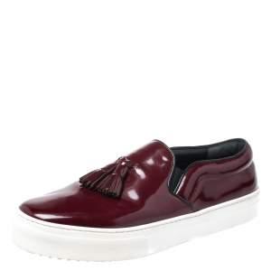 Celine Burgundy Leather Tassel Slip On Sneakers Size 39