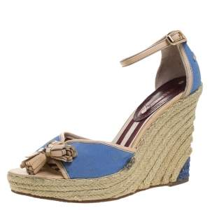 Celine Blue Canvas And Beige Leather Tassel Espadrille Wedge Platform Ankle Strap Sandals Size 38