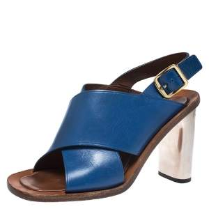 Celine Blue Leather Cross Strap Open Toe Slingback Sandals Size 39