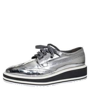 Prada Metallic Silver Brogue Leather Platform Low Top Sneakers Size 38