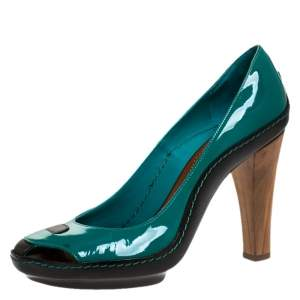 Celine Green/Black Patent And Leather Wooden Heels Pumps Size 38