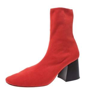 Celine Orange Stretch Knit Fabric Sock Block Heel Ankle Boots Size 39.5