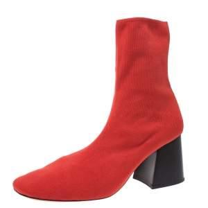 حذاء بوت للكاحل سيلين قماش سترتش برتقالي بكعب مربع سميك مقاس 39.5