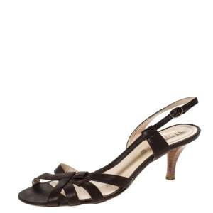 Celine Brown Leather Open Toe Slingback Sandals Size 38.5
