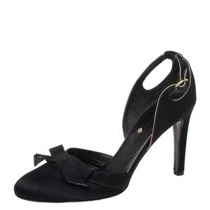 Celine Black Cutout Satin Bow D'Orsay Pumps Size 38