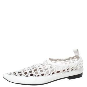 حذاء فلات سيلين مقدمة مدببة جلد وحبل مغزول أبيض مقاس 40