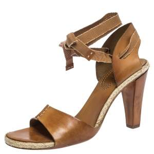 Celine Brown Leather Espadrille Ankle Wrap Open Toe Sandals Size 40