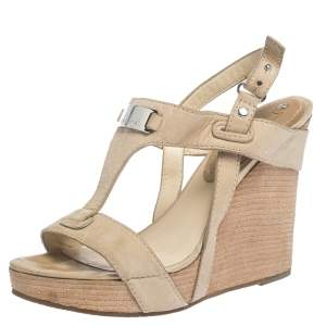 Céline Beige Leather T-Strap Wedge Platform Slingback Sandals Size 37.5