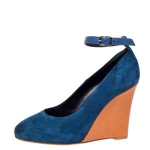 Cèline Blue Suede Color Block Wedge Ankle Strap Pumps Size 36