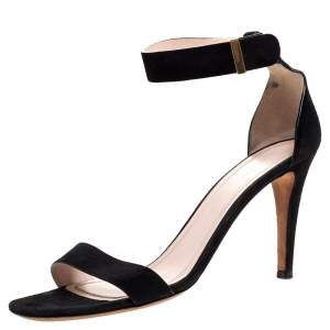 Celine Black Suede Iconic Ankle Strap Sandals Size 39