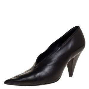 Celine Black Leather V Cut Pointed Toe Pumps Size 38