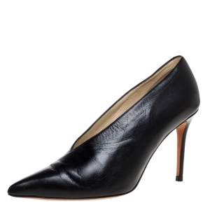 Celine Black Leather V-Neck Pointed Toe Pumps Size 36.5