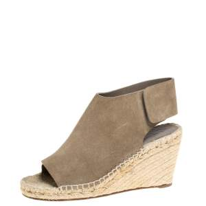 Celine Grey Suede Open Toe Espadrilles Wedge Sandals Size 37