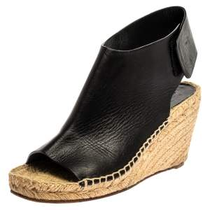 Celine Black Leather Open Toe Espadrilles Wedge Sandals Size 37