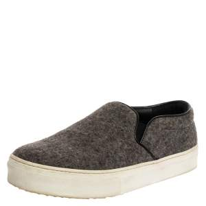 Celine Grey/Black Wool Slip On Sneakers Size 39