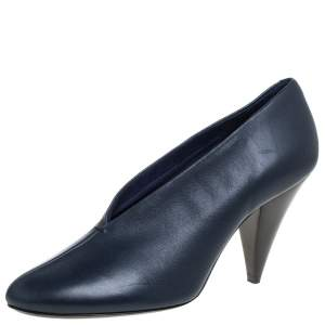 Celine Blue Leather V Neck Pumps Size 39