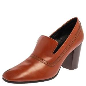 Celine Brown Leather Loafer Pumps Size 39