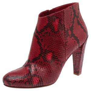 Celine Red Python Block Heels Ankle Boots Size 38
