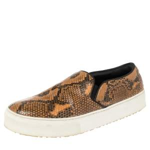 Celine Multicolor Python and Leather Slip On Sneakers Size 38