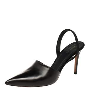 Celine Black Leather Pointed Toe Slingback Pumps Size 38