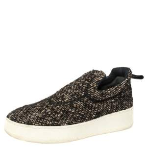 Céline Brown Tweed Platform Slip-On Sneakers Size 38