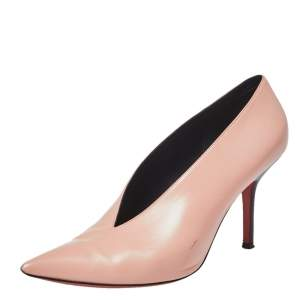Celine Blush Pink Leather V Neck Pointed Toe Pumps Size 40