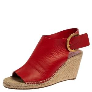 Celine Red Leather Espadrille Wedge Slingback Sandals Size 40