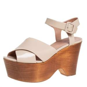 Celine Beige Patent Leather Platform Wedge Sandals Size 38.5
