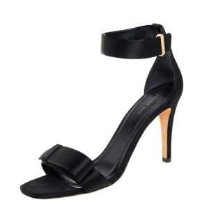 Celine Black Satin Bow Embellished Ankle Strap Sandals Size 37