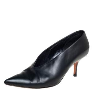 Celine Black Leather V Neck Pointed Toe Pumps Size 40