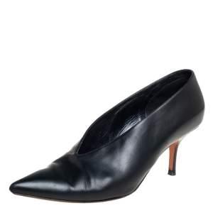 حذاء كعب عالي سيلين جلد أسود رقبة حرف في مقدمة مدببة مقاس 40