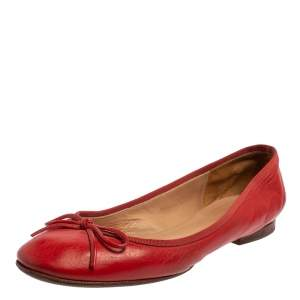 Celine Red Leather Bow Ballet Flats Size 37