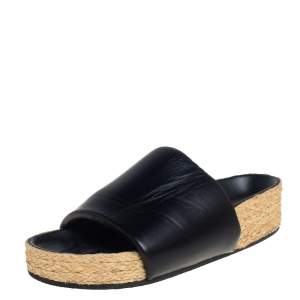 Celine Black Leather Flat Espadrille Slides Size 39