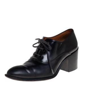 Celine Black Leather Lace Up Ankle Booties Size 37
