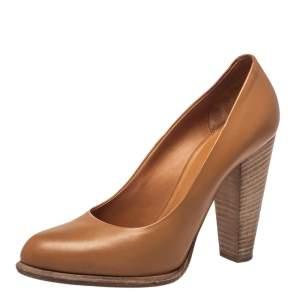 Celine Brown Leather Block Heel Pumps Size 37.5